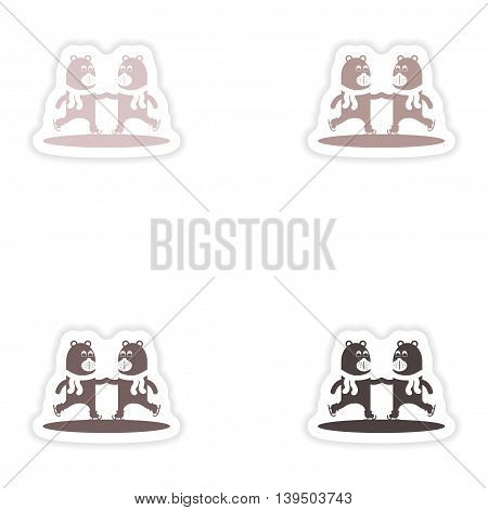 Set of paper stickers on white background   Bear skating