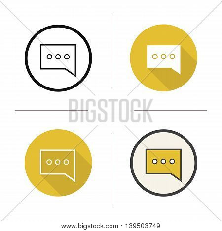 Sms symbol icon. Flat design, linear and color styles. Message bubble. Chat box isolated vector illustrations