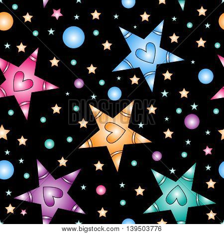 colorful stars with hearts over black background - seamless tiling texture