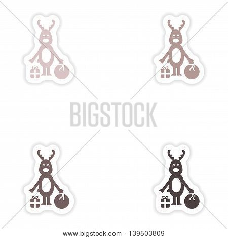 Set of paper stickers on white background  deer gifts