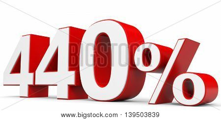 Discount 440 percent on white background. 3D illustration.