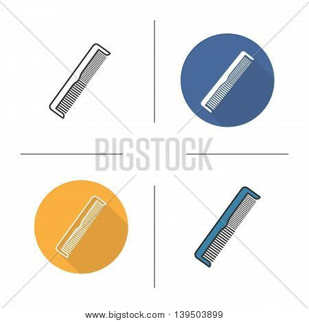 Comb icon. Flat design, linear and color styles. Hair brush. Isolated vector illustrations