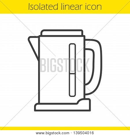 Electric kettle linear icon. Thin line illustration. Contour symbol. Vector isolated outline drawing