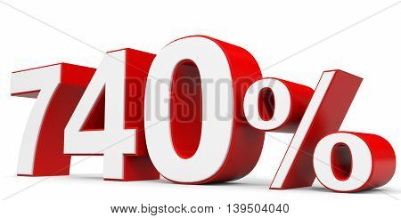 Discount 740 percent on white background. 3D illustration.