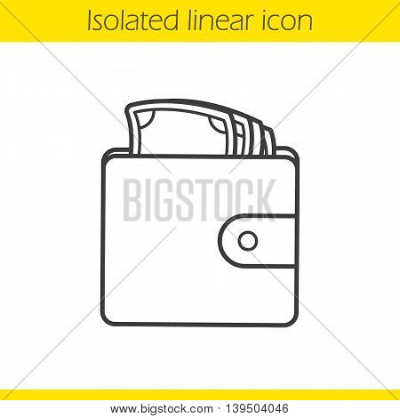 Wallet with money linear icon. Thin line illustration. Men's purse contour symbol. Vector isolated outline drawing