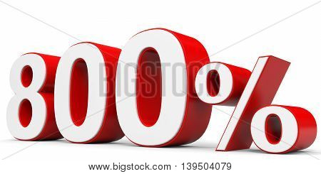 Discount 800 percent on white background. 3D illustration.