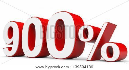 Discount 900 percent off on white background. 3D illustration.