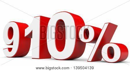 Discount 910 percent off on white background. 3D illustration.