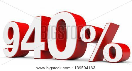 Discount 940 percent off on white background. 3D illustration.