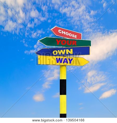 Sign post with four arrows of diffirent colors and directions and text - Choose your own way on a blue sky background.