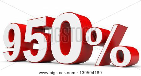 Discount 950 percent off on white background. 3D illustration.