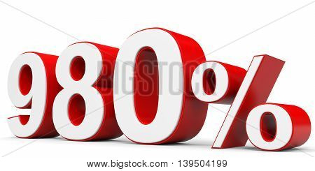 Discount 980 percent off on white background. 3D illustration.