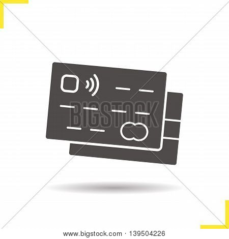 Credit cards icon. Drop shadow silhouette symbol. Vector isolated illustration