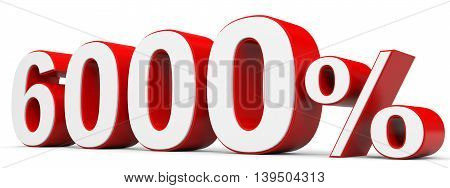 Discount 6000 percent off on white background. 3D illustration.