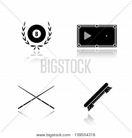 Billiard equipment drop shadow black icons set. Billiard brush, table, cues and eight ball in laurel wreath. Pool accessories isolated vector illustrations