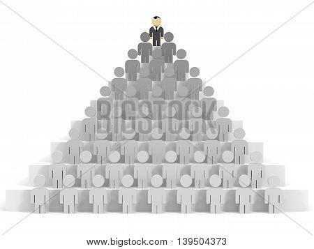 3D business people on white background. Leadership. 3D illustration.