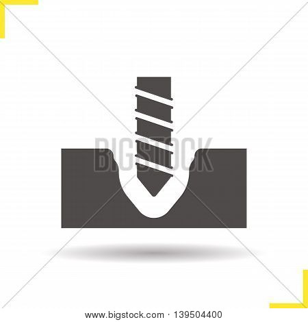 Drilling icon. Drop shadow silhouette symbol. Rotating drill vector isolated illustration