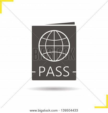 International passport icon. Drop shadow silhouette symbol. Negative space. Vector isolated illustration