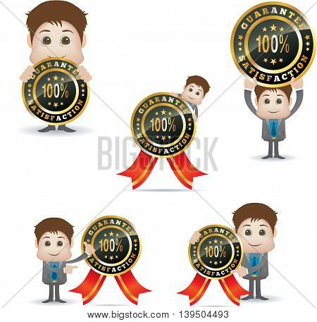 cute cartoon character with satisfaction badge isolated