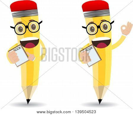 cartoon pencil character with glasseye holding paper