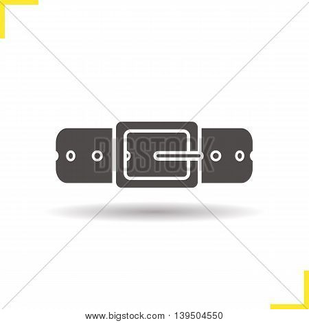 Leather belt icon. Drop shadow silhouette symbol. Vector isolated illustration