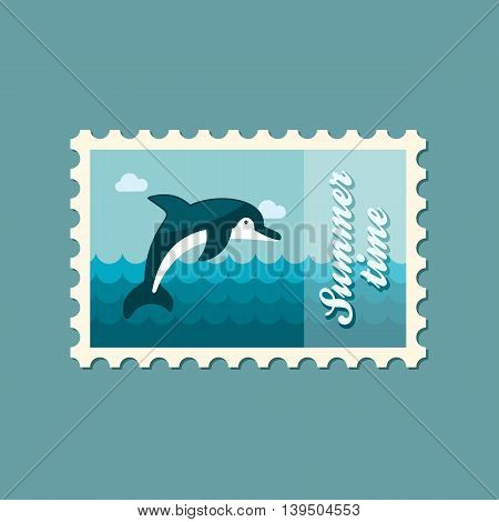 Dolphin vector stamp. Beach. Summer. Summertime. Holiday. Vacation eps 10