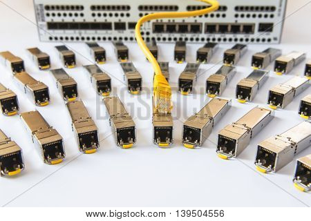 SFP network modules for network switch and yellow patch cord