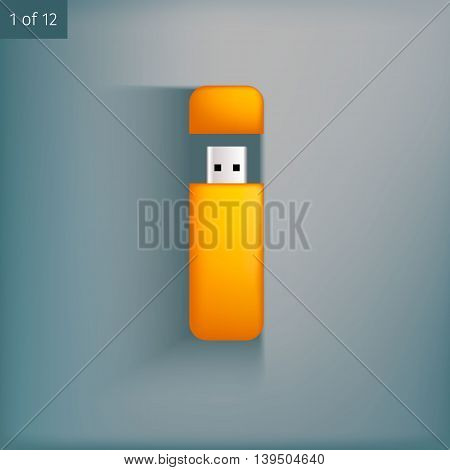 Template for advertising and corporate identity. USB flash drives. Blank mockup for design. Vector white object