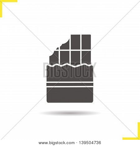 Bitten chocolate bar icon. Drop shadow silhouette symbol. Negative space. Vector isolated illustration