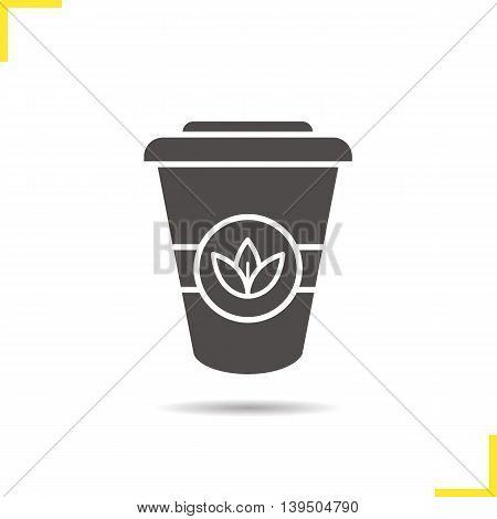 Tea paper cup icon. Drop shadow takeaway cup silhouette symbol. Tea to go. Vector isolated illustration