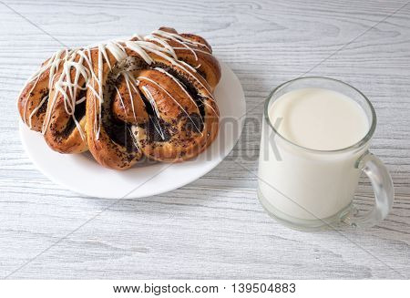 Glass Of Milk And Sweet Roll