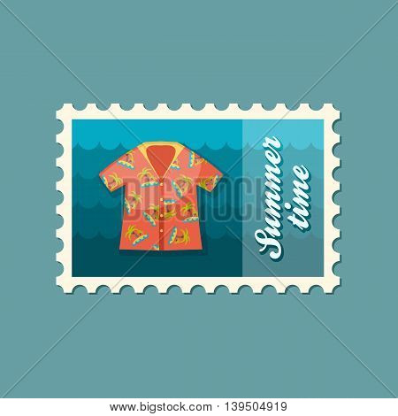 Hawaiian Shirt with palm tree vector stamp. Beach. Summer. Summertime. Holiday. Vacation eps 10