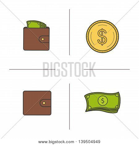 Money color icons set. Wallet with cash, purse, currency stack and gold dollar coin. Vector isolated illustrations