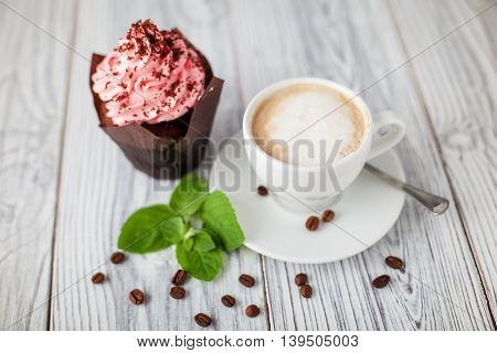 cakes cofee mint grains wooden green cup