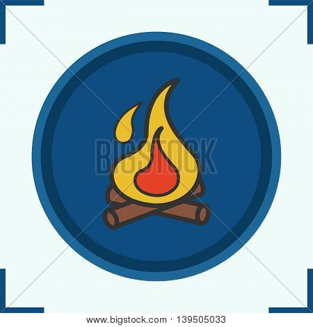 Campfire color icon. Bonfire with firewood. Flame vector isolated illustration