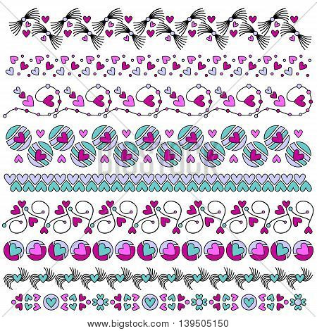Romantic trim collection with hearts over white background