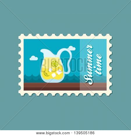 Jug of lemonade with slices of citrus and ice vector stamp. Beach. Summer. Summertime. Holiday. Vacation eps 10