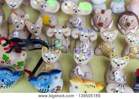 Many Ukrainian Souvenirs Clay Figurines At The Fair Near