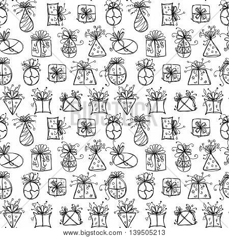 Seamless texture of line art silhouette of gifts on a light background