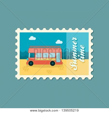 Double decker open top sightseeing and city bus vector stamp. Summer. Summertime. Holiday. Vacation eps 10