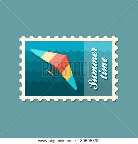Hang Glider vector stamp. Travel. Summer. Summertime. Holiday. Vacation eps 10