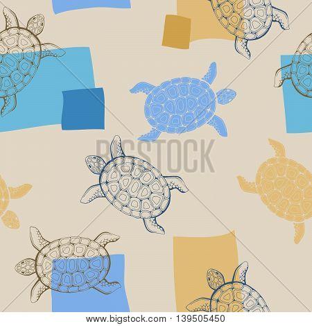Turtle animal graphic art blue beige seamless pattern illustration vector