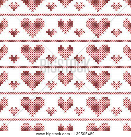 Seamless pattern with cross-stitch hearts on white background. Art vector illustration.