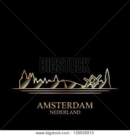 Gold silhouette of Amsterdam on black background vector illustration