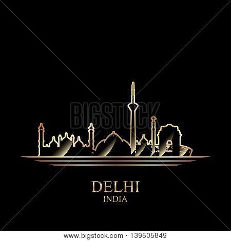 Gold silhouette of Delhi on black background vector illustration