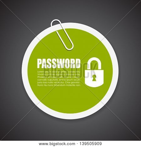 Password protected information sticker isolated on black background