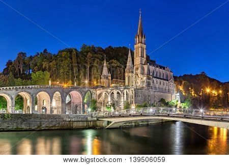 Rosary Basilica at night Lourdes Hautes-Pyrenees France