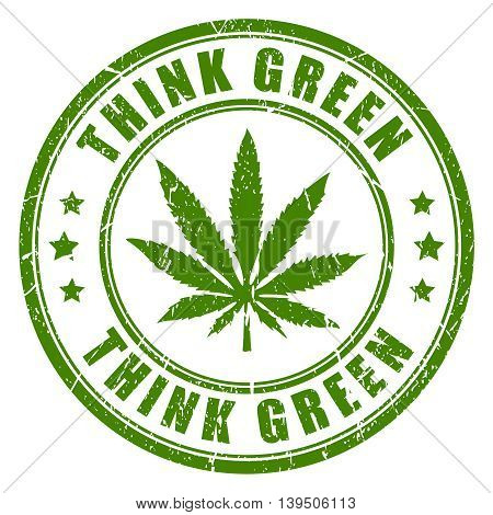 Cannabis rubber stamp think green isolated on white background