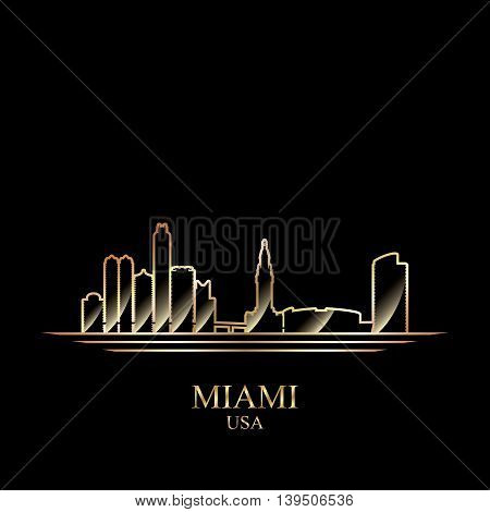 Gold silhouette of Miami on black background vector illustration