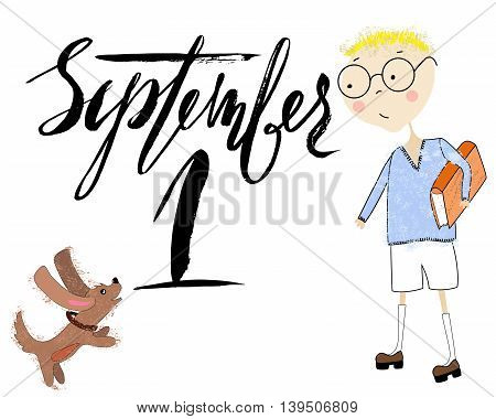 Boy with the book plays with a puppy. Handdrawn inspiration. Back to school. Lettering.